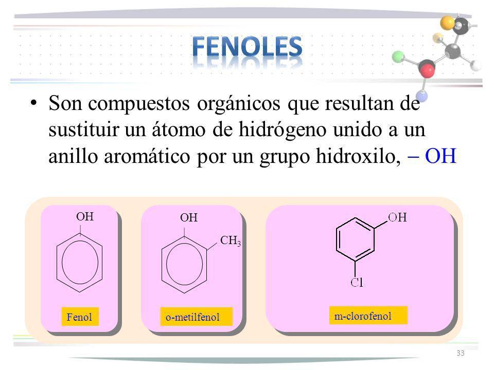 Son compuestos orgánicos que resultan de sustituir un átomo de hidrógeno unido a un anillo aromático por un grupo hidroxilo, OH 33 OH | OH | CH 3 Feno