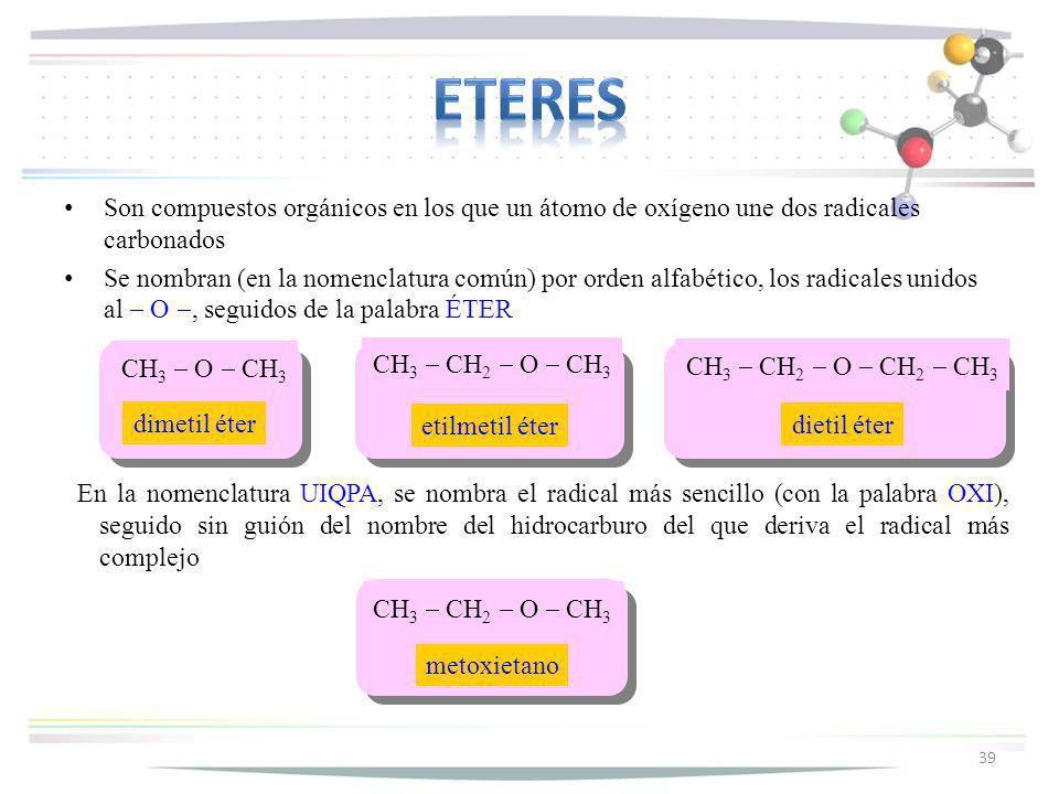 Son compuestos orgánicos en los que un átomo de oxígeno une dos radicales carbonados Se nombran (en la nomenclatura común) por orden alfabético, los r