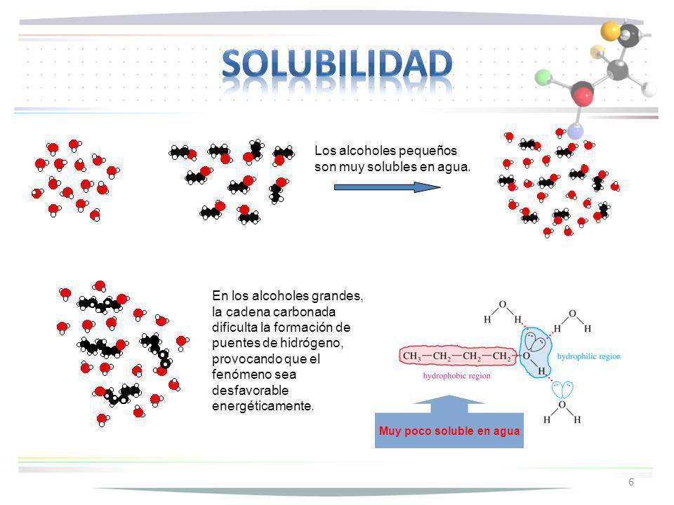 6 Los alcoholes pequeños son muy solubles en agua. En los alcoholes grandes, la cadena carbonada dificulta la formación de puentes de hidrógeno, provo