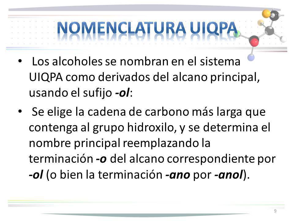 Los alcoholes se nombran en el sistema UIQPA como derivados del alcano principal, usando el sufijo -ol: Se elige la cadena de carbono más larga que co