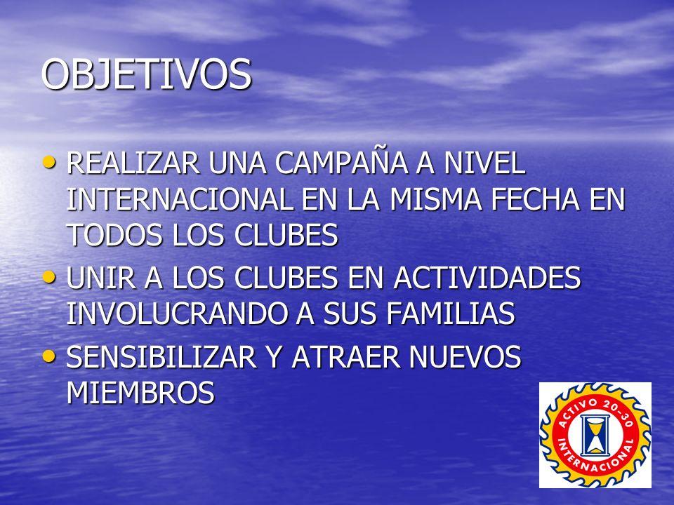 OBJETIVOS REALIZAR UNA CAMPAÑA A NIVEL INTERNACIONAL EN LA MISMA FECHA EN TODOS LOS CLUBES REALIZAR UNA CAMPAÑA A NIVEL INTERNACIONAL EN LA MISMA FECHA EN TODOS LOS CLUBES UNIR A LOS CLUBES EN ACTIVIDADES INVOLUCRANDO A SUS FAMILIAS UNIR A LOS CLUBES EN ACTIVIDADES INVOLUCRANDO A SUS FAMILIAS SENSIBILIZAR Y ATRAER NUEVOS MIEMBROS SENSIBILIZAR Y ATRAER NUEVOS MIEMBROS