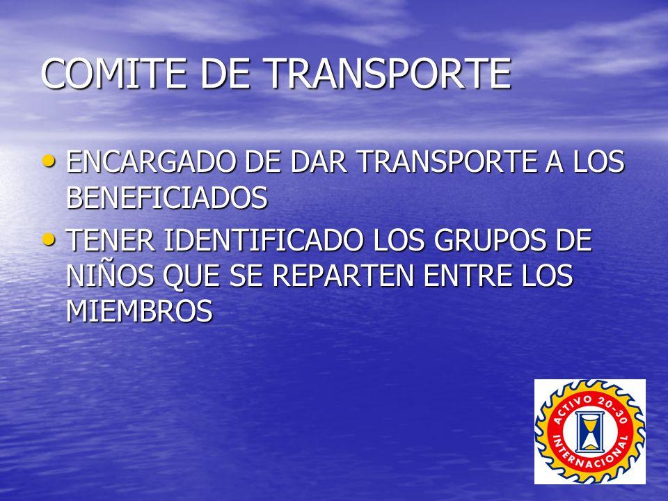 COMITE DE TRANSPORTE ENCARGADO DE DAR TRANSPORTE A LOS BENEFICIADOS ENCARGADO DE DAR TRANSPORTE A LOS BENEFICIADOS TENER IDENTIFICADO LOS GRUPOS DE NIÑOS QUE SE REPARTEN ENTRE LOS MIEMBROS TENER IDENTIFICADO LOS GRUPOS DE NIÑOS QUE SE REPARTEN ENTRE LOS MIEMBROS