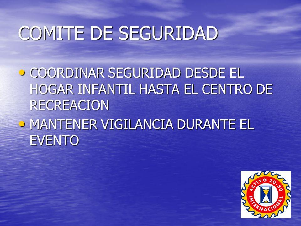 COMITE DE SEGURIDAD COORDINAR SEGURIDAD DESDE EL HOGAR INFANTIL HASTA EL CENTRO DE RECREACION COORDINAR SEGURIDAD DESDE EL HOGAR INFANTIL HASTA EL CENTRO DE RECREACION MANTENER VIGILANCIA DURANTE EL EVENTO MANTENER VIGILANCIA DURANTE EL EVENTO