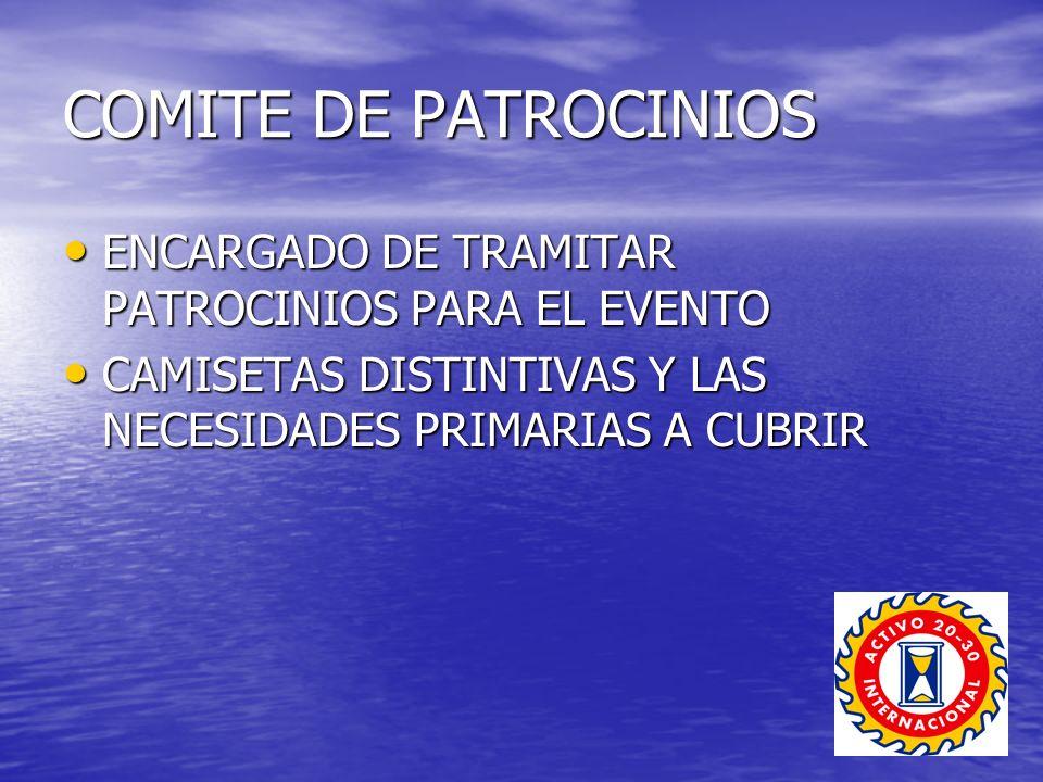 COMITE DE PATROCINIOS ENCARGADO DE TRAMITAR PATROCINIOS PARA EL EVENTO ENCARGADO DE TRAMITAR PATROCINIOS PARA EL EVENTO CAMISETAS DISTINTIVAS Y LAS NECESIDADES PRIMARIAS A CUBRIR CAMISETAS DISTINTIVAS Y LAS NECESIDADES PRIMARIAS A CUBRIR