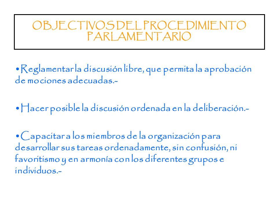 Organismos en los que el Procedimiento Parlamentario Tiene Alto Nivel de Aplicación En los Parlamentos.- Consejos Provinciales.- Gremios de Profesiona