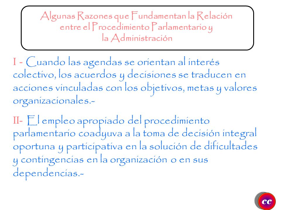 CONTROL Ubicación del Procedimiento Parlamentario en la Administración Moderna PLANEACIÓN ORGANIZACIÓN Gestión de Recursos Humanos Función Dirigencial