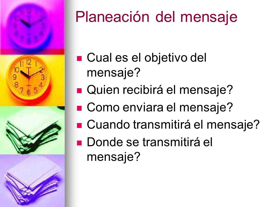 Planeación del mensaje Cual es el objetivo del mensaje? Quien recibirá el mensaje? Como enviara el mensaje? Cuando transmitirá el mensaje? Donde se tr