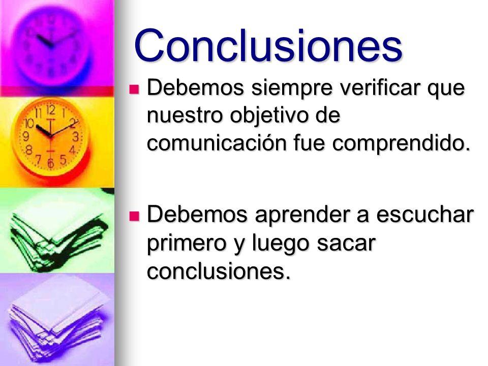 Conclusiones Debemos siempre verificar que nuestro objetivo de comunicación fue comprendido. Debemos aprender a escuchar primero y luego sacar conclus