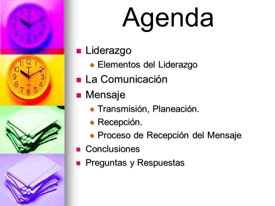 Liderazgo Liderazgo Elementos del Liderazgo Elementos del Liderazgo La Comunicación La Comunicación Mensaje Mensaje Transmisión, Planeación. Transmisi