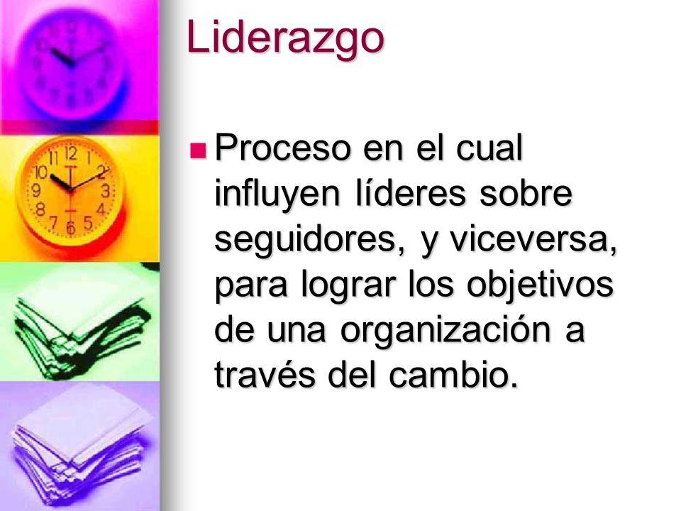Liderazgo Proceso en el cual influyen líderes sobre seguidores, y viceversa, para lograr los objetivos de una organización a través del cambio. Proces