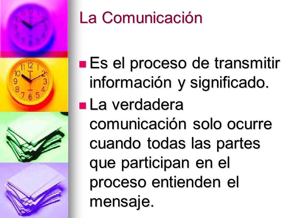 La Comunicación Es el proceso de transmitir información y significado. Es el proceso de transmitir información y significado. La verdadera comunicació