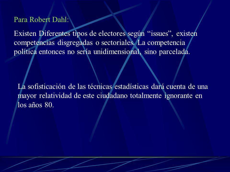 Para Robert Dahl: Existen Diferentes tipos de electores según issues, existen competencias disgregadas o sectoriales.