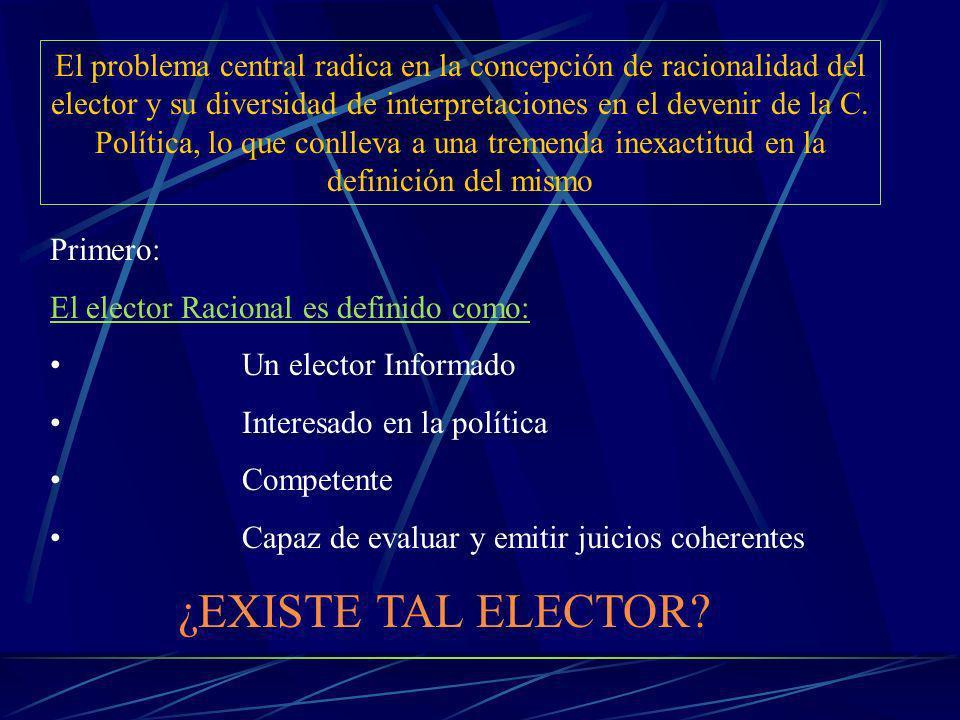 El problema central radica en la concepción de racionalidad del elector y su diversidad de interpretaciones en el devenir de la C.