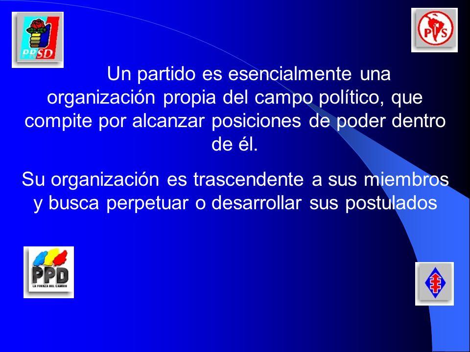 Para Giovanni Sartori Las principales funciones de los Partidos Políticos son las siguientes: Comunicación de la Sociedad con el Estado Reclutamiento del Personal Político Canalización de demandas Socialización Política Expresión y Movilización Social
