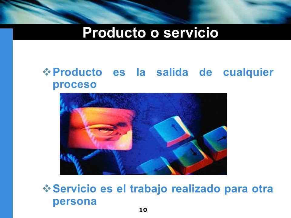 10 Producto o servicio Producto es la salida de cualquier proceso Servicio es el trabajo realizado para otra persona