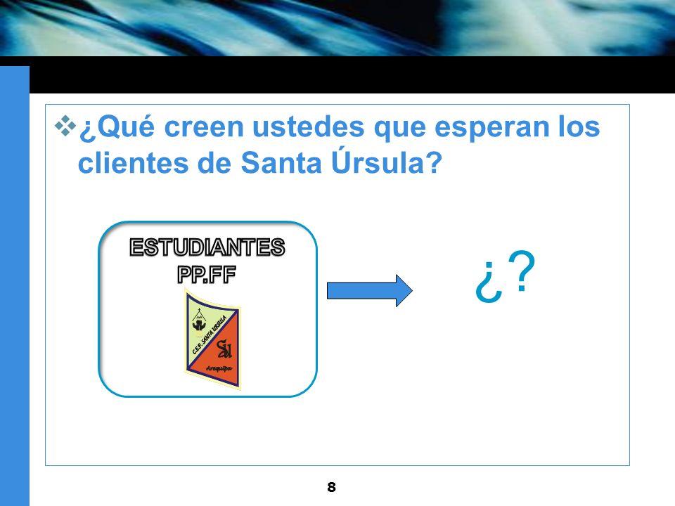 ¿Qué creen ustedes que esperan los clientes de Santa Úrsula? » ¿? 8