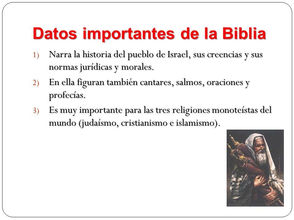 Datos importantes de la Biblia 1) Narra la historia del pueblo de Israel, sus creencias y sus normas jurídicas y morales. 2) En ella figuran también c