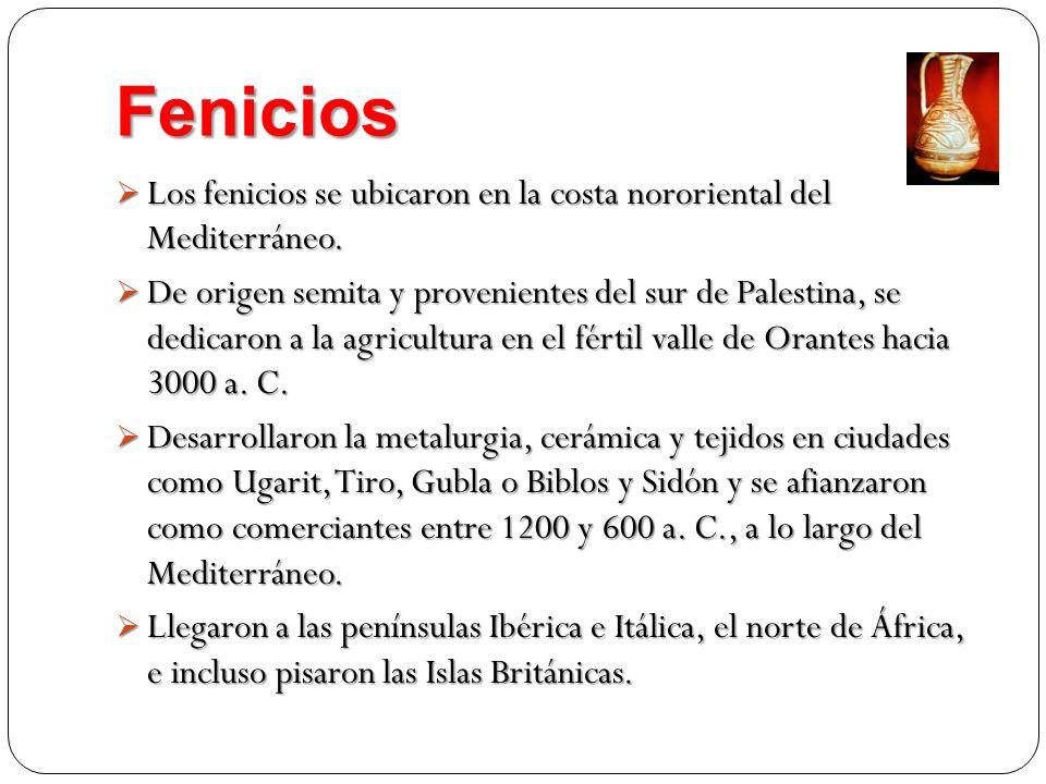 Fenicios Los fenicios se ubicaron en la costa nororiental del Mediterráneo. Los fenicios se ubicaron en la costa nororiental del Mediterráneo. De orig