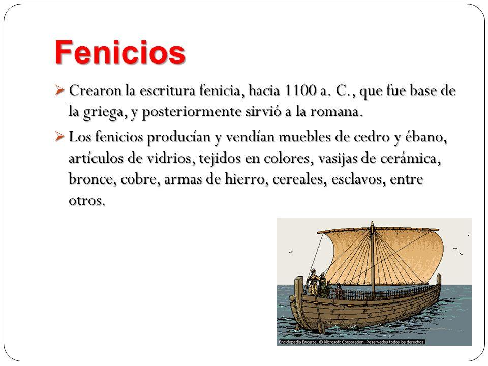 Fenicios Crearon la escritura fenicia, hacia 1100 a. C., que fue base de la griega, y posteriormente sirvió a la romana. Crearon la escritura fenicia,