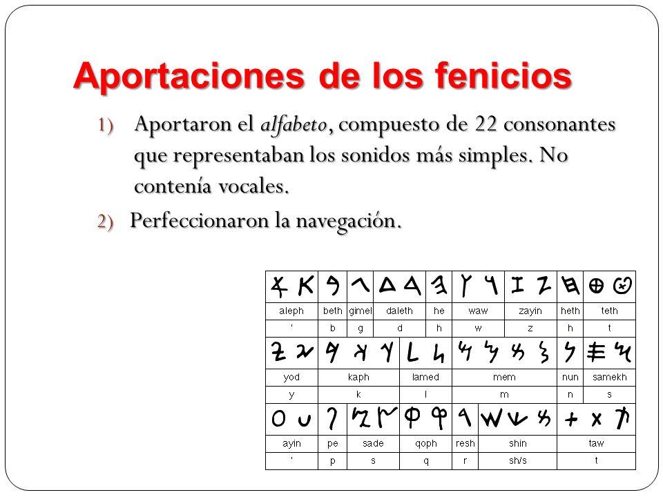 Aportaciones de los fenicios 1) Aportaron el alfabeto, compuesto de 22 consonantes que representaban los sonidos más simples. No contenía vocales. 2)