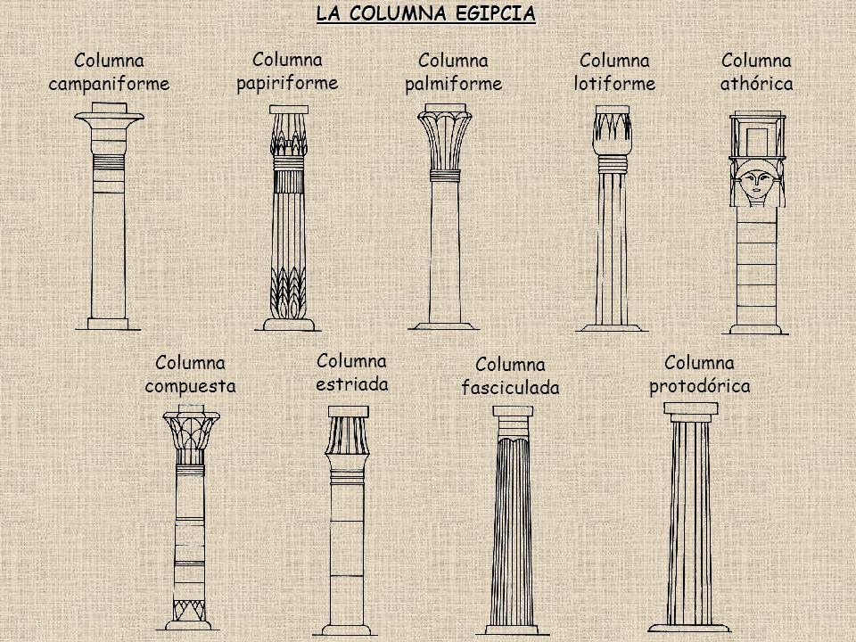Columna estriada Columna compuesta Columna fasciculada Columna athórica Columna palmiforme Columna lotiforme Columna papiriforme Columna protodórica C
