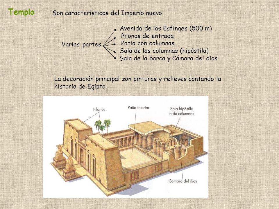 Templo Varias partes Avenida de las Esfinges (500 m) Pilonos de entrada Patio con columnas Sala de las columnas (hipóstila) Sala de la barca y Cámara