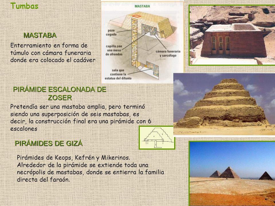 MASTABA Enterramiento en forma de túmulo con cámara funeraria donde era colocado el cadáver PIRÁMIDE ESCALONADA DE ZOSER Pretendía ser una mastaba amp