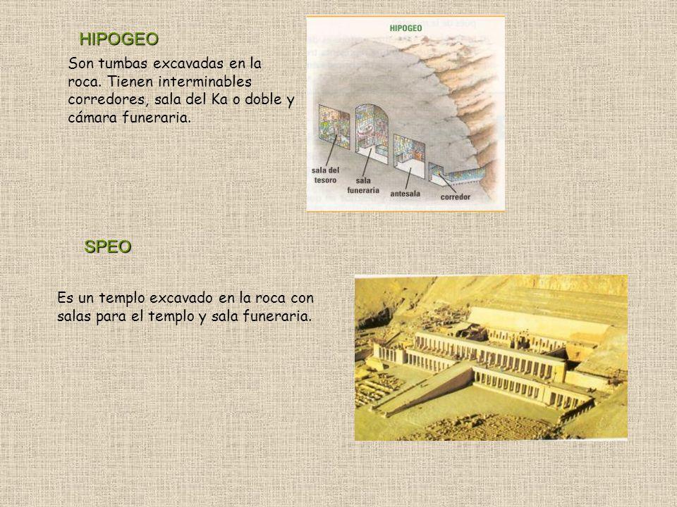 Son tumbas excavadas en la roca. Tienen interminables corredores, sala del Ka o doble y cámara funeraria. HIPOGEO SPEO Es un templo excavado en la roc