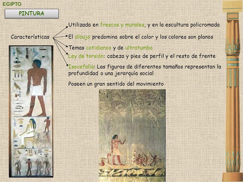 EGIPTO Utilizada en frescos y murales, y en la escultura policromada CaracterísticasEl dibujo predomina sobre el color y los colores son planos PINTUR