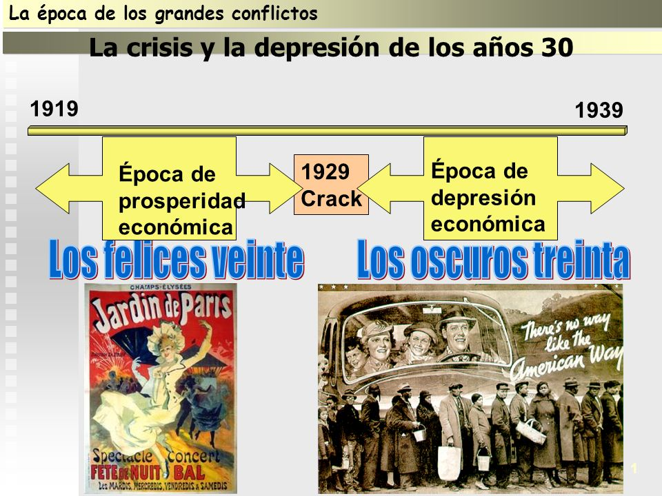 1919 1939 1 La época de los grandes conflictos La crisis y la depresión de los años 30 1 1929 Crack Época de depresión económica Época de prosperidad