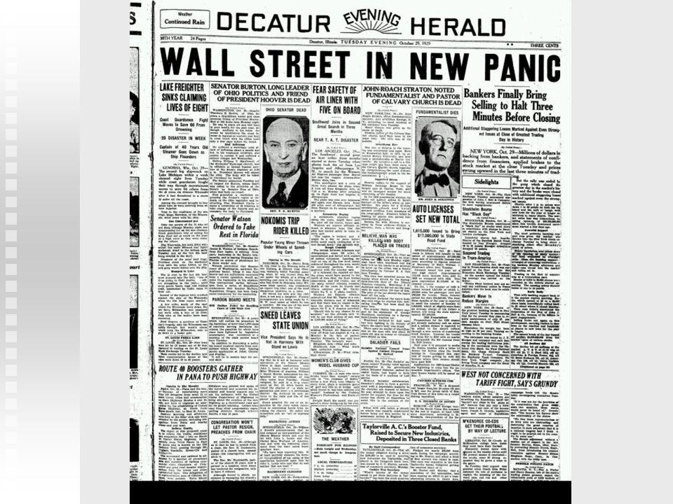 El crack de 1929 Los inversores particulares El ahorrador retira el dinero de los bancos No hay más préstamos ni a consumidores ni a productores Crisis bancaria Caída de la Bolsa Empresas y bancos que han invertido en bolsa los bancos agotan su liquidez Las fábricas cierran Aumenta el desempleo Perjudica a Muchos de ellos son Deudores de créditos que no podrán devolver En esos momentos de pánico Sin ayudas