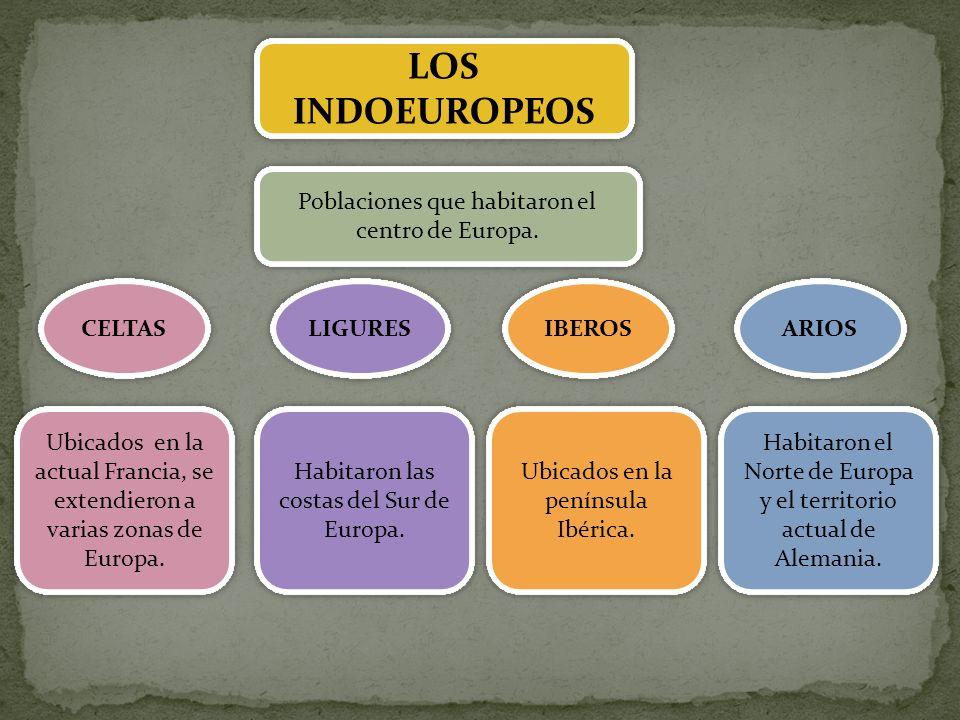LOS INDOEUROPEOS Poblaciones que habitaron el centro de Europa. CELTAS IBEROS LIGURES ARIOS Ubicados en la actual Francia, se extendieron a varias zon