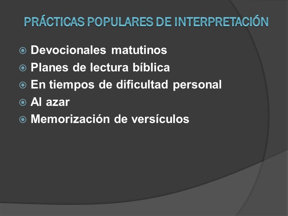 Devocionales matutinos Planes de lectura bíblica En tiempos de dificultad personal Al azar Memorización de versículos