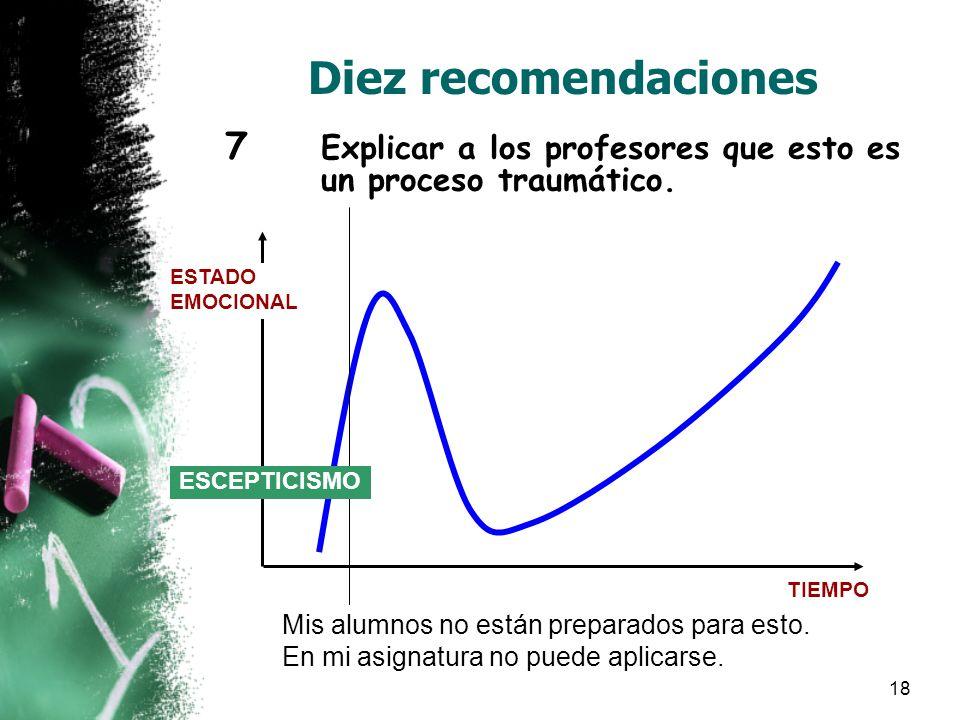 18 Diez recomendaciones 7 Explicar a los profesores que esto es un proceso traumático.