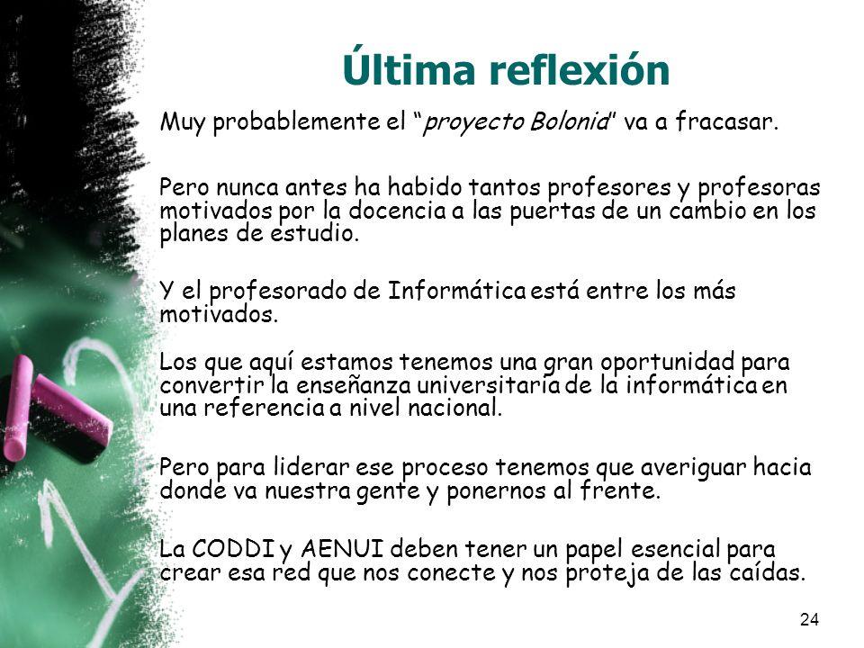 24 Última reflexión Muy probablemente el proyecto Bolonia va a fracasar.