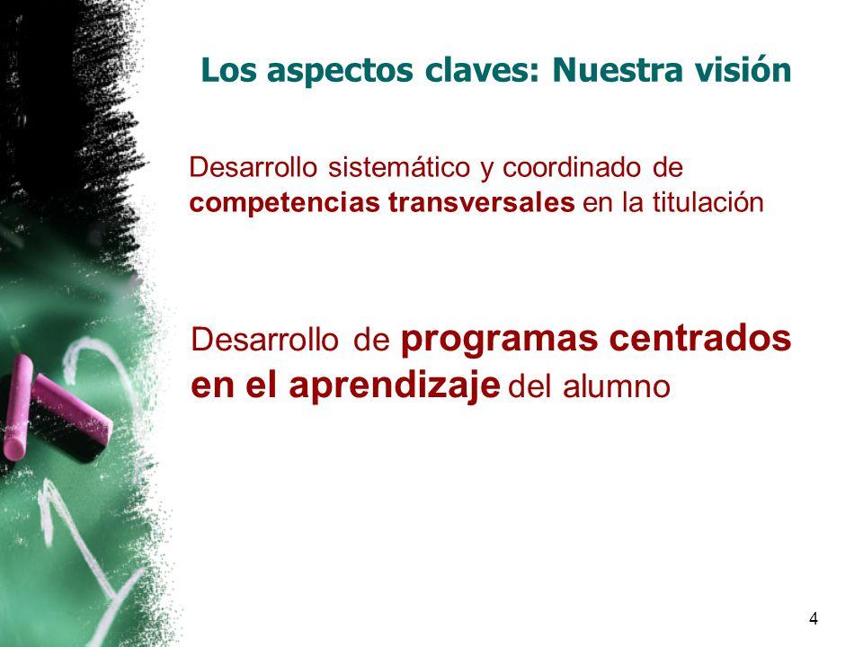 4 Los aspectos claves: Nuestra visión Desarrollo sistemático y coordinado de competencias transversales en la titulación Desarrollo de programas centrados en el aprendizaje del alumno