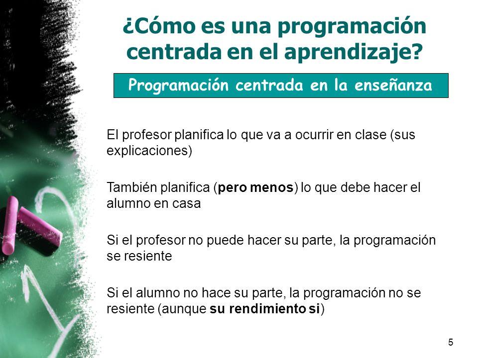 5 ¿Cómo es una programación centrada en el aprendizaje.
