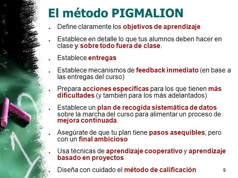 9 El método PIGMALION. Define claramente los objetivos de aprendizaje.