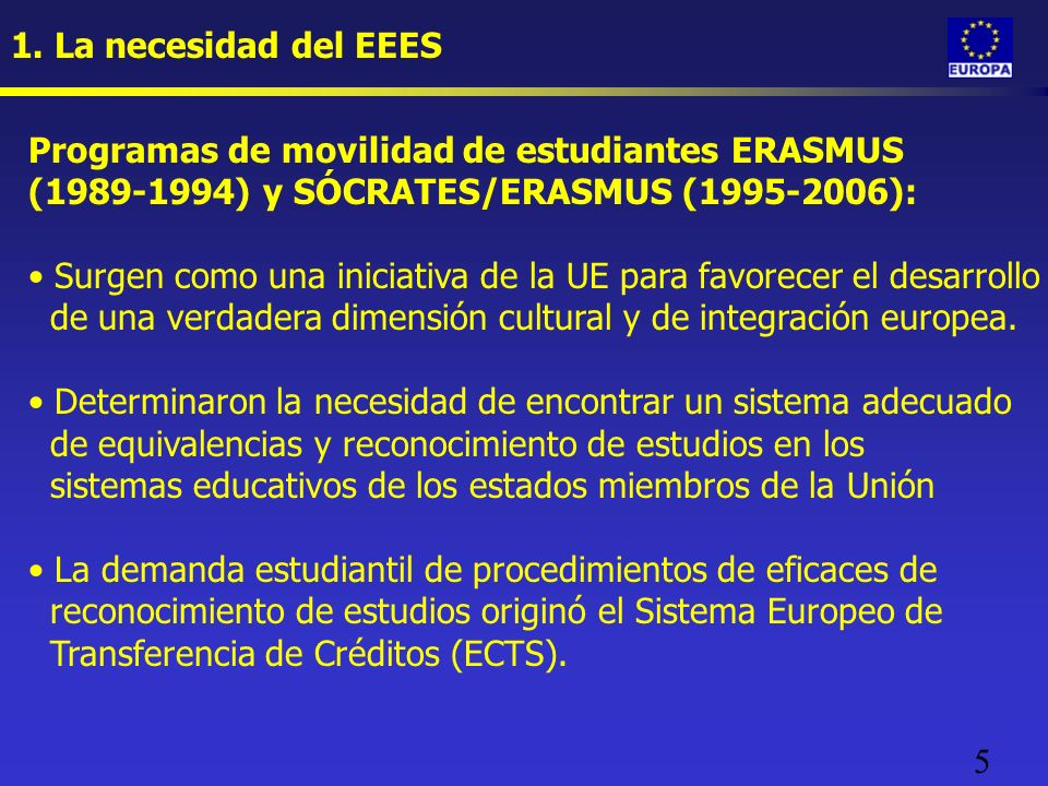 5 1. La necesidad del EEES Programas de movilidad de estudiantes ERASMUS (1989-1994) y SÓCRATES/ERASMUS (1995-2006): Surgen como una iniciativa de la