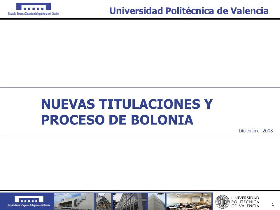 1 Universidad Politécnica de Valencia Diciembre 2008 NUEVAS TITULACIONES Y PROCESO DE BOLONIA