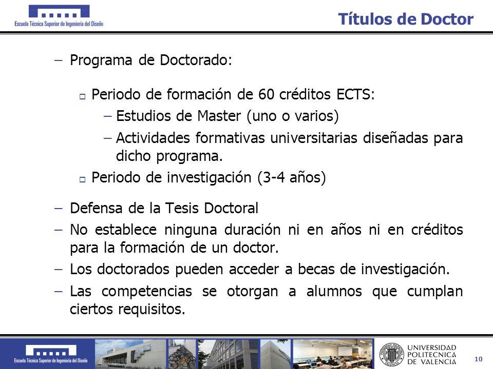 10 Títulos de Doctor –Programa de Doctorado: Periodo de formación de 60 créditos ECTS: –Estudios de Master (uno o varios) –Actividades formativas univ