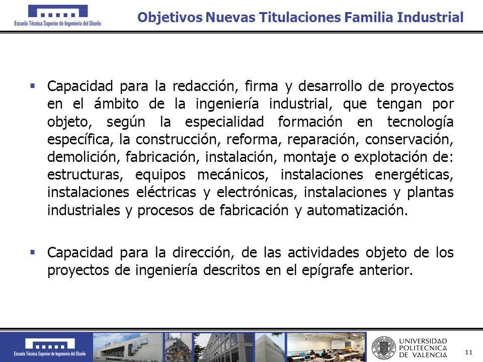 11 Objetivos Nuevas Titulaciones Familia Industrial Capacidad para la redacción, firma y desarrollo de proyectos en el ámbito de la ingeniería industr