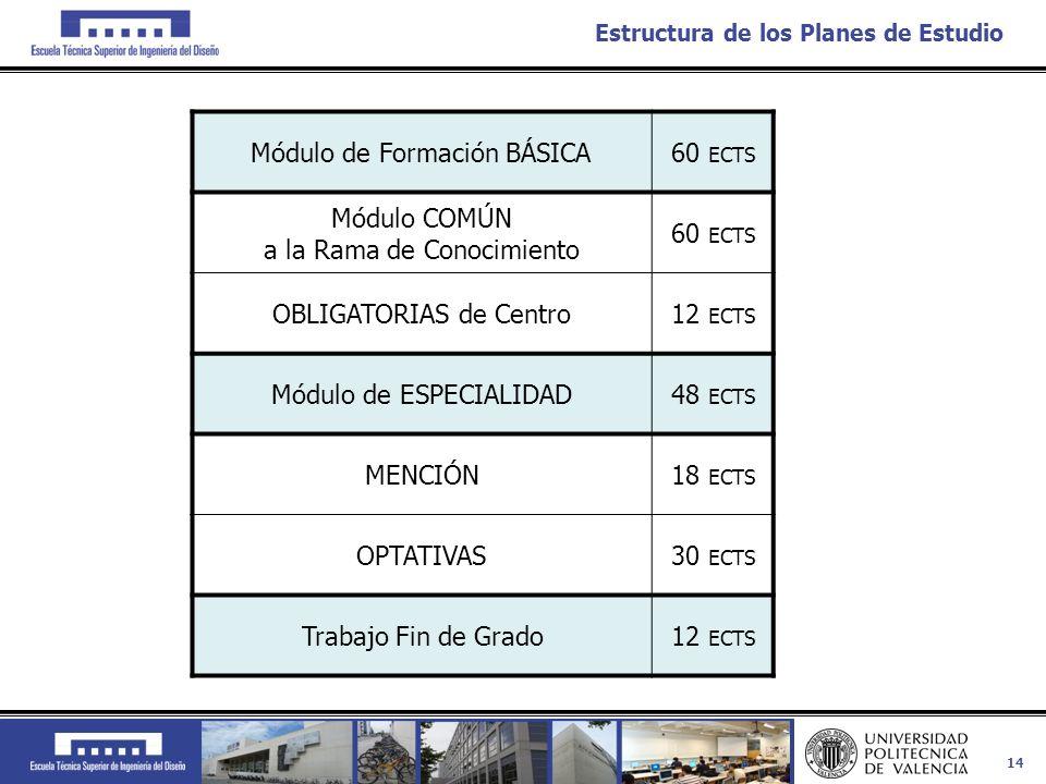 14 Estructura de los Planes de Estudio Módulo de Formación BÁSICA60 ECTS Módulo COMÚN a la Rama de Conocimiento 60 ECTS OBLIGATORIAS de Centro12 ECTS