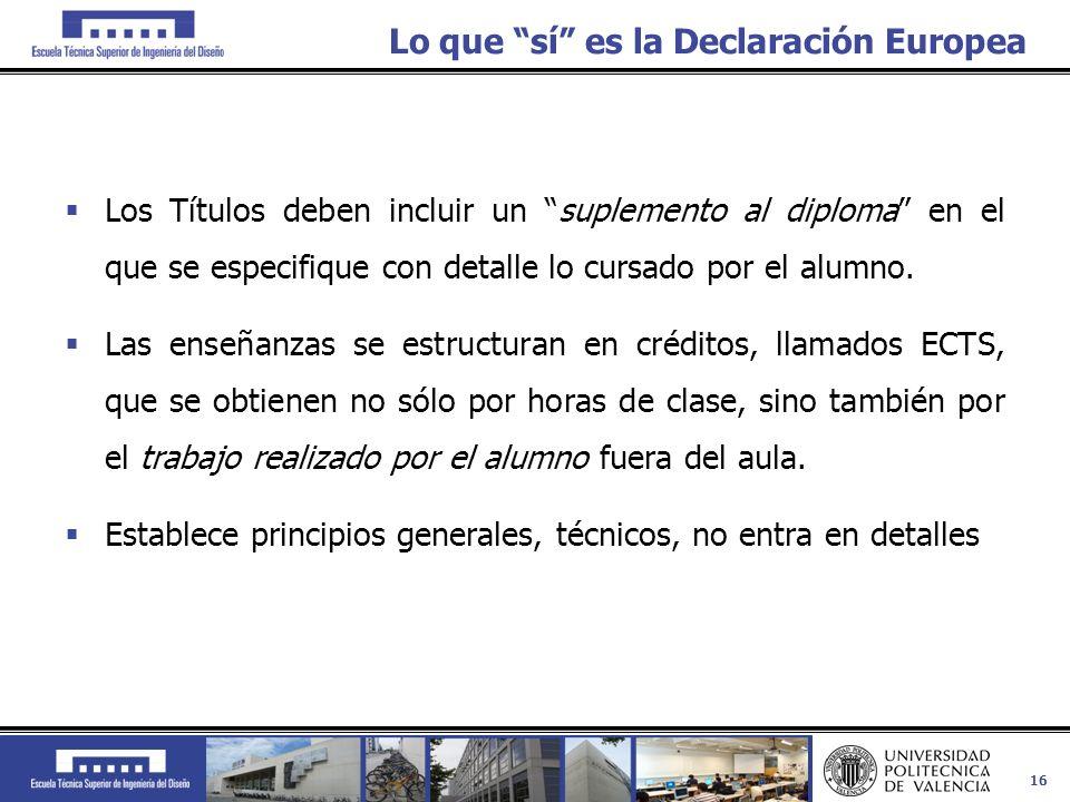 16 Lo que sí es la Declaración Europea Los Títulos deben incluir un suplemento al diploma en el que se especifique con detalle lo cursado por el alumn