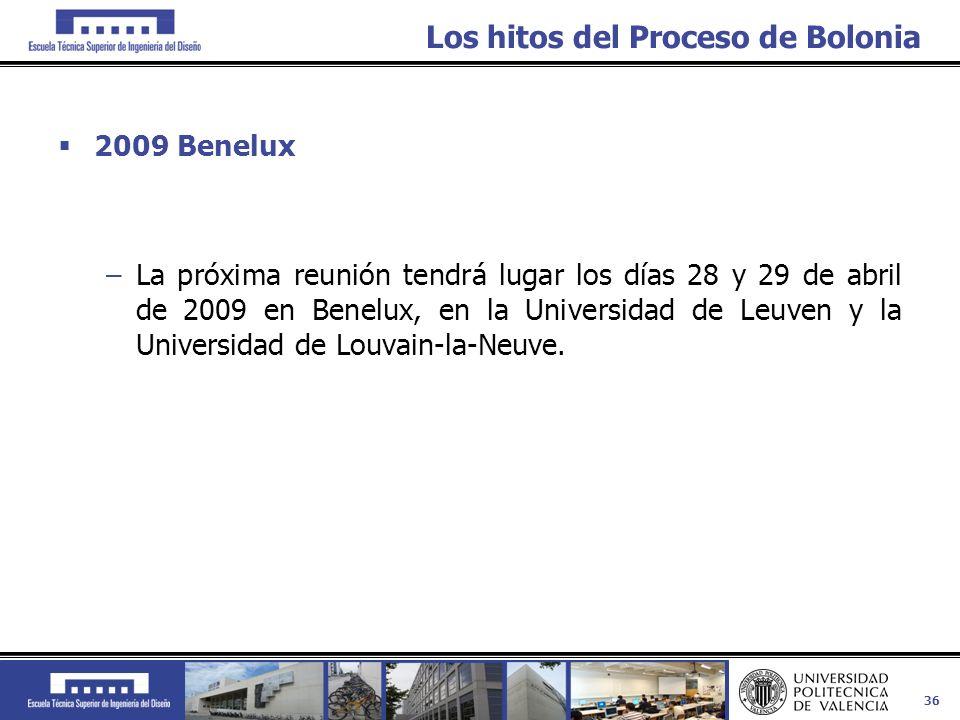 36 Los hitos del Proceso de Bolonia 2009 Benelux –La próxima reunión tendrá lugar los días 28 y 29 de abril de 2009 en Benelux, en la Universidad de L