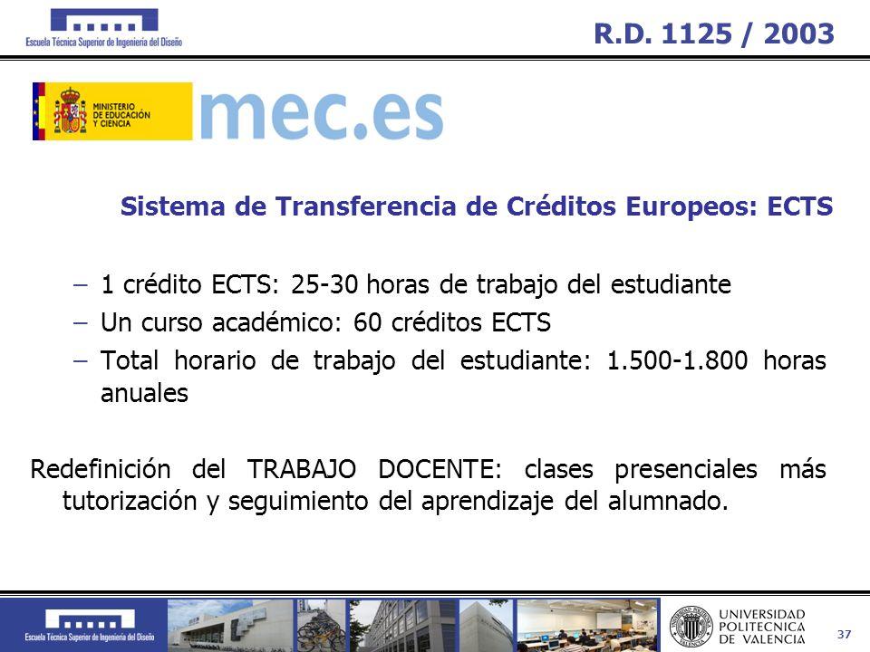 37 –1 crédito ECTS: 25-30 horas de trabajo del estudiante –Un curso académico: 60 créditos ECTS –Total horario de trabajo del estudiante: 1.500-1.800