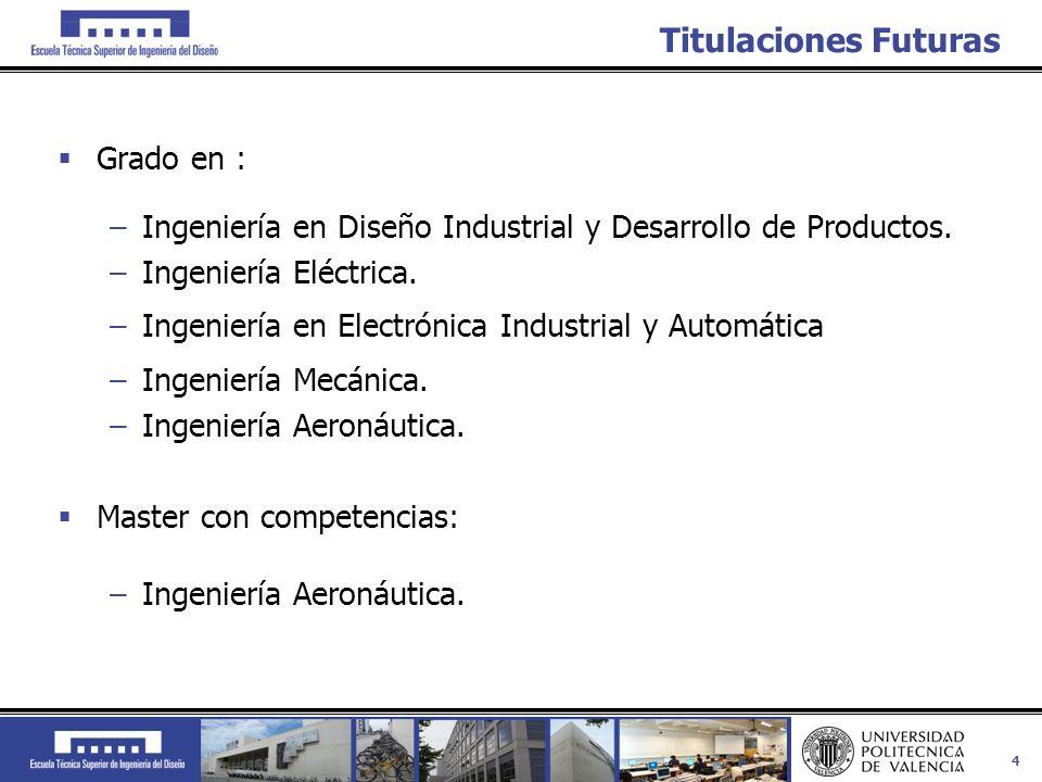 4 Titulaciones Futuras Grado en : –Ingeniería en Diseño Industrial y Desarrollo de Productos. –Ingeniería Eléctrica. –Ingeniería en Electrónica Indust