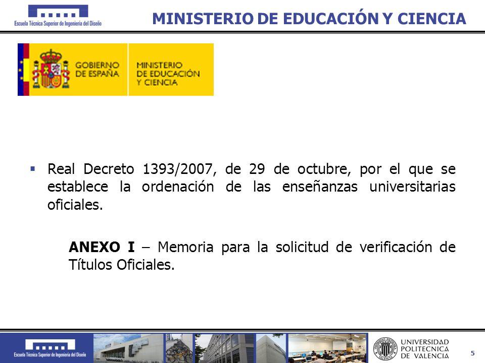 55 MINISTERIO DE EDUCACIÓN Y CIENCIA Real Decreto 1393/2007, de 29 de octubre, por el que se establece la ordenación de las enseñanzas universitarias