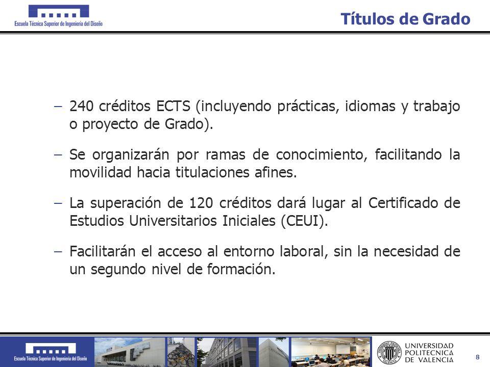 8 Títulos de Grado –240 créditos ECTS (incluyendo prácticas, idiomas y trabajo o proyecto de Grado). –Se organizarán por ramas de conocimiento, facili