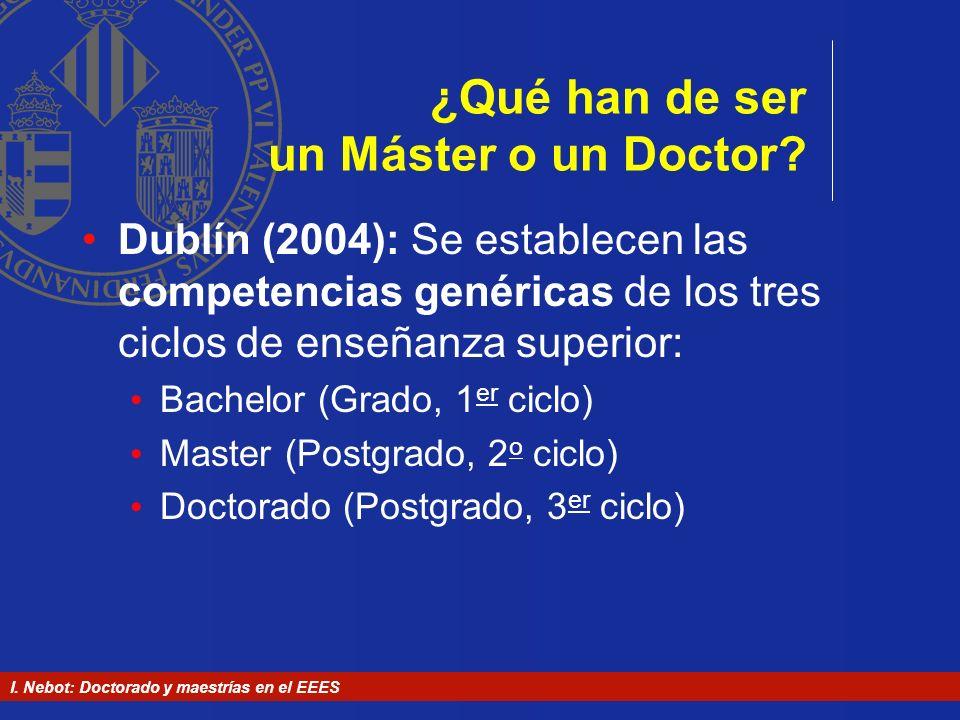 I. Nebot: Doctorado y maestrías en el EEES ¿Qué han de ser un Máster o un Doctor? Dublín (2004): Se establecen las competencias genéricas de los tres